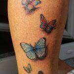Bein mit Schmetterlingen Tattoo von Marielle