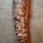 Luchs mit Blüten Tattoo von Marielle-art